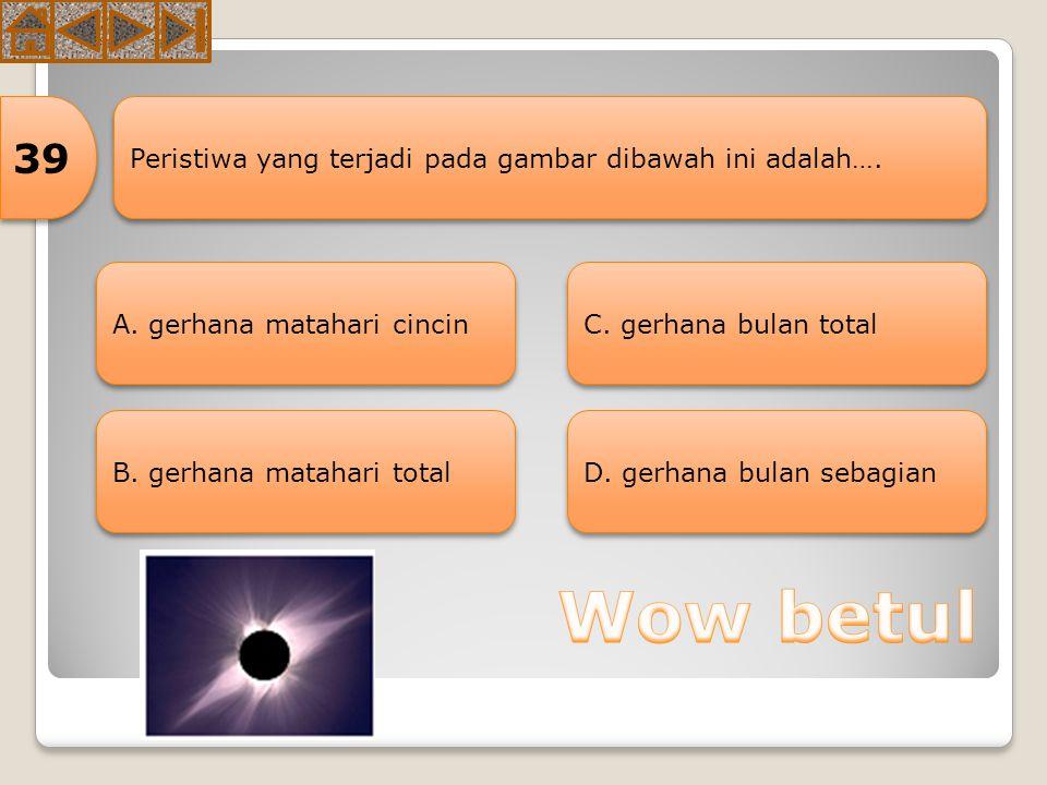 Akibat yang ditimbulkan dari adanya rotasi bumi adalah…. 38 A. gerak semu harian B. pergantian musim C. gerak semu tahunan matahari D. Perubahan cuaca
