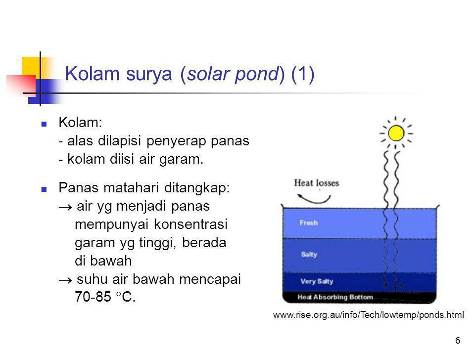6 Kolam surya (solar pond) (1)  Kolam: - alas dilapisi penyerap panas - kolam diisi air garam.  Panas matahari ditangkap:  air yg menjadi panas mem