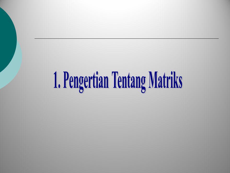 Pengertian Dasar Matriks Matrik adalah susunan teratur bilangan-bilangan dalam baris dan kolom yang membentuk suatu susunan persegi panjang yang kita perlakukan sebagai suatu kesatuan.