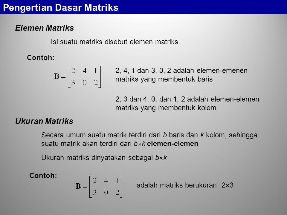 Pengertian Dasar Matriks Elemen Matriks Isi suatu matriks disebut elemen matriks Contoh: 2, 4, 1 dan 3, 0, 2 adalah elemen-emenen matriks yang membent