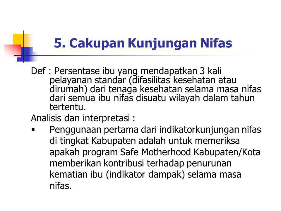 5. Cakupan Kunjungan Nifas Def : Persentase ibu yang mendapatkan 3 kali pelayanan standar (difasilitas kesehatan atau dirumah) dari tenaga kesehatan s
