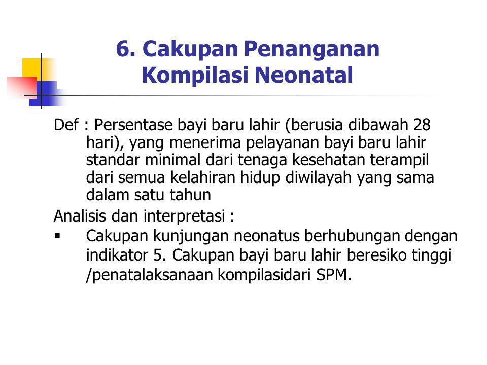 6. Cakupan Penanganan Kompilasi Neonatal Def : Persentase bayi baru lahir (berusia dibawah 28 hari), yang menerima pelayanan bayi baru lahir standar m
