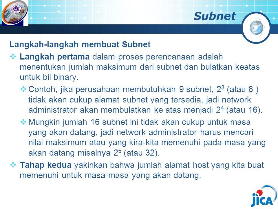 Subnet Langkah-langkah membuat Subnet  Langkah pertama dalam proses perencanaan adalah menentukan jumlah maksimum dari subnet dan bulatkan keatas unt