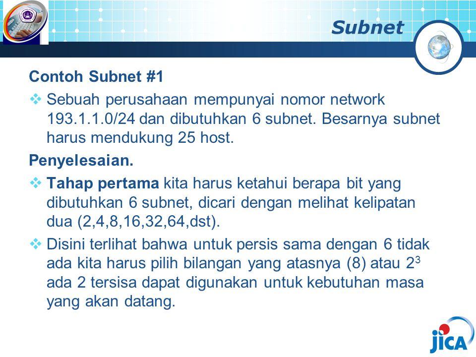 Subnet Contoh Subnet #1  Sebuah perusahaan mempunyai nomor network 193.1.1.0/24 dan dibutuhkan 6 subnet. Besarnya subnet harus mendukung 25 host. Pen