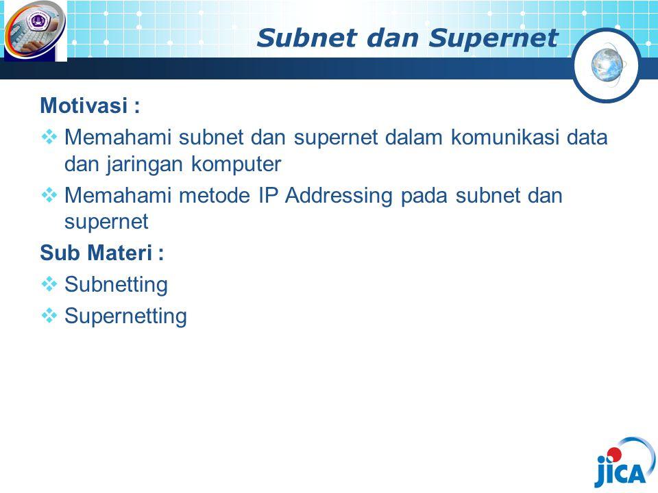Subnet dan Supernet Motivasi :  Memahami subnet dan supernet dalam komunikasi data dan jaringan komputer  Memahami metode IP Addressing pada subnet dan supernet Sub Materi :  Subnetting  Supernetting