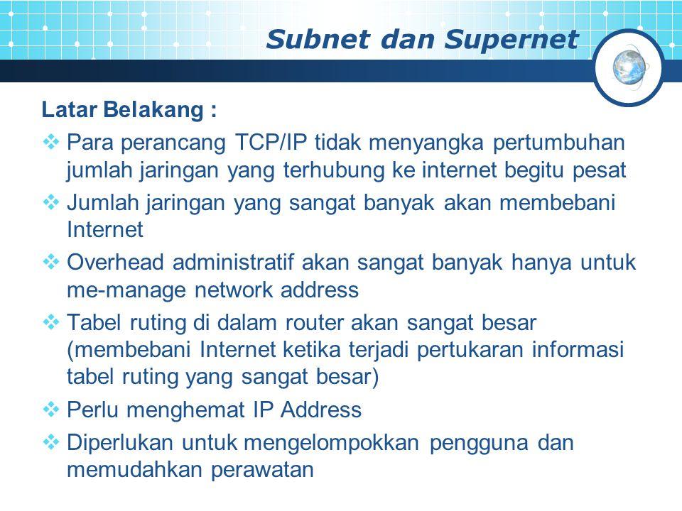 Subnet dan Supernet Latar Belakang :  Para perancang TCP/IP tidak menyangka pertumbuhan jumlah jaringan yang terhubung ke internet begitu pesat  Jum