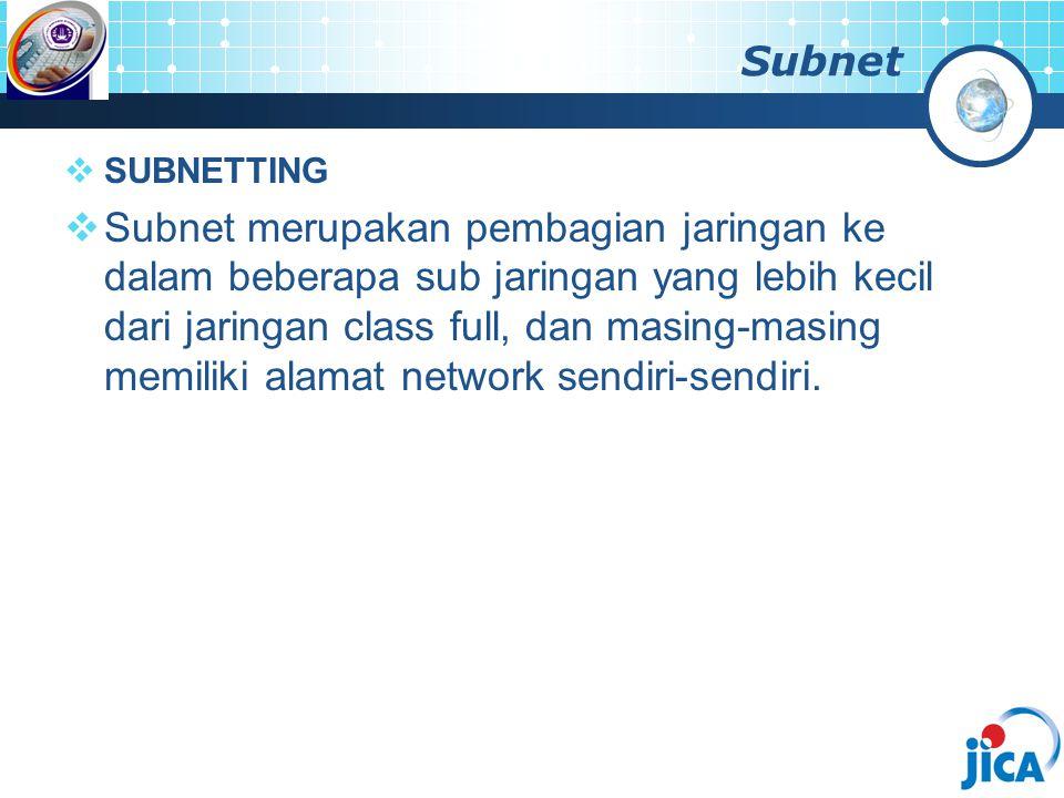 Subnet  SUBNETTING  Subnet merupakan pembagian jaringan ke dalam beberapa sub jaringan yang lebih kecil dari jaringan class full, dan masing-masing memiliki alamat network sendiri-sendiri.