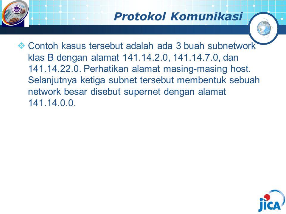 Protokol Komunikasi  Contoh kasus tersebut adalah ada 3 buah subnetwork klas B dengan alamat 141.14.2.0, 141.14.7.0, dan 141.14.22.0. Perhatikan alam