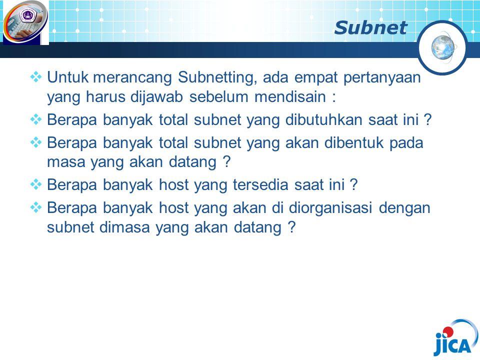 Subnet  Untuk merancang Subnetting, ada empat pertanyaan yang harus dijawab sebelum mendisain :  Berapa banyak total subnet yang dibutuhkan saat ini
