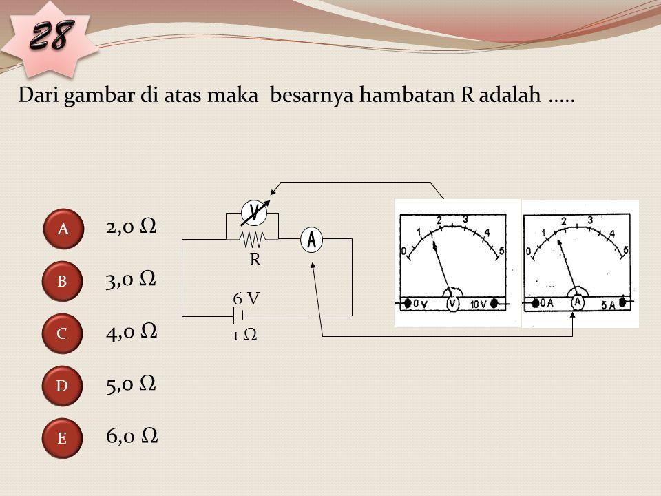 Perhatikan gambar rangkaian listrik berikut ini. Jika hambatan dalam baterai diabaikan maka kuat arus yang melalui hambatan 4Ω adalah.... 0,8 A 0,9 A
