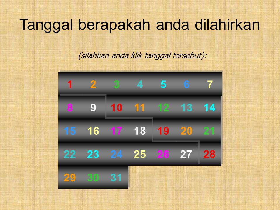 Tanggal berapakah anda dilahirkan (silahkan anda klik tanggal tersebut): 19 10 1 1 28 2 2 11 20 29 3 3 12 21 30 4 4 13 22 31 5 5 14 23 6 6 15 24 7 7 1