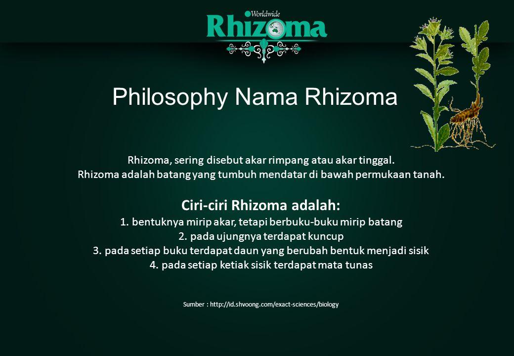 Philosophy Nama Rhizoma Rhizoma, sering disebut akar rimpang atau akar tinggal. Rhizoma adalah batang yang tumbuh mendatar di bawah permukaan tanah. C