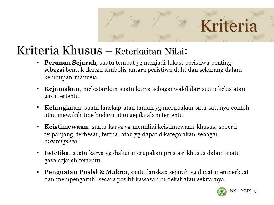 NK – MMX 13 Kriteria Kriteria Khusus – Keterkaitan Nilai :  Peranan Sejarah, suatu tempat yg menjadi lokasi peristiwa penting sebagai bentuk ikatan simbolis antara peristiwa dulu dan sekarang dalam kehidupan manusia.