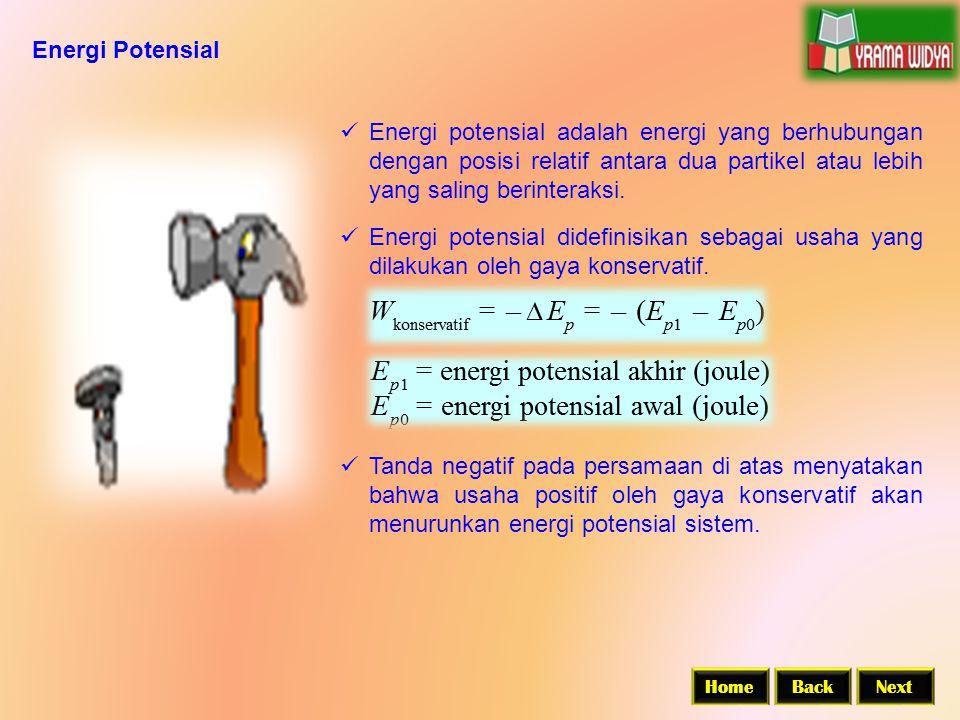 Energi Potensial  Energi potensial adalah energi yang berhubungan dengan posisi relatif antara dua partikel atau lebih yang saling berinteraksi.  En