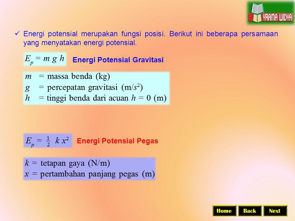  Energi potensial merupakan fungsi posisi. Berikut ini beberapa persamaan yang menyatakan energi potensial. Energi Potensial Gravitasi Energi Potensi