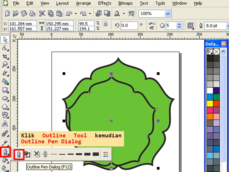 Klik Outline Tool kemudian Outline Pen Dialog