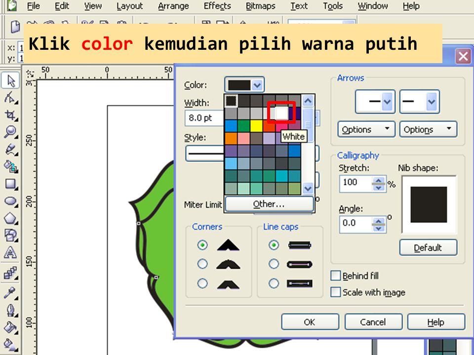 Klik color kemudian pilih warna putih