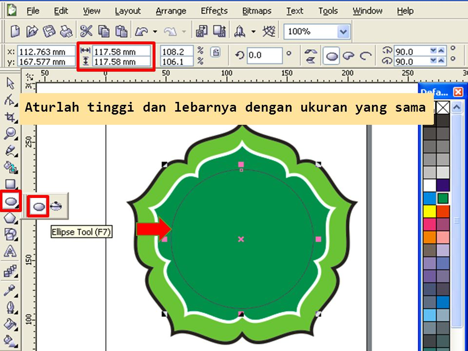 Buatlah lingkaran dengan Ellipse Tool Aturlah tinggi dan lebarnya dengan ukuran yang sama