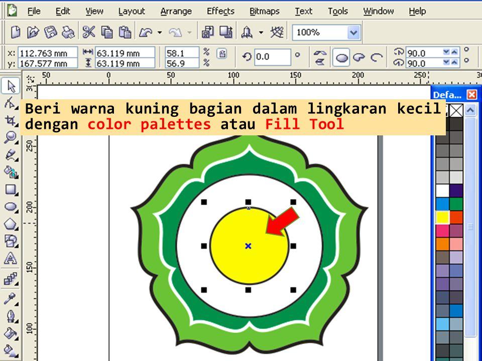 Beri warna kuning bagian dalam lingkaran kecil dengan color palettes atau Fill Tool