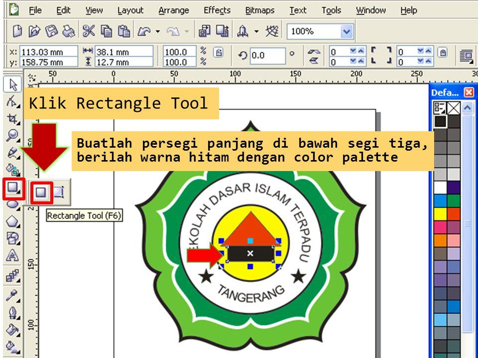 Klik Rectangle Tool Buatlah persegi panjang di bawah segi tiga, berilah warna hitam dengan color palette