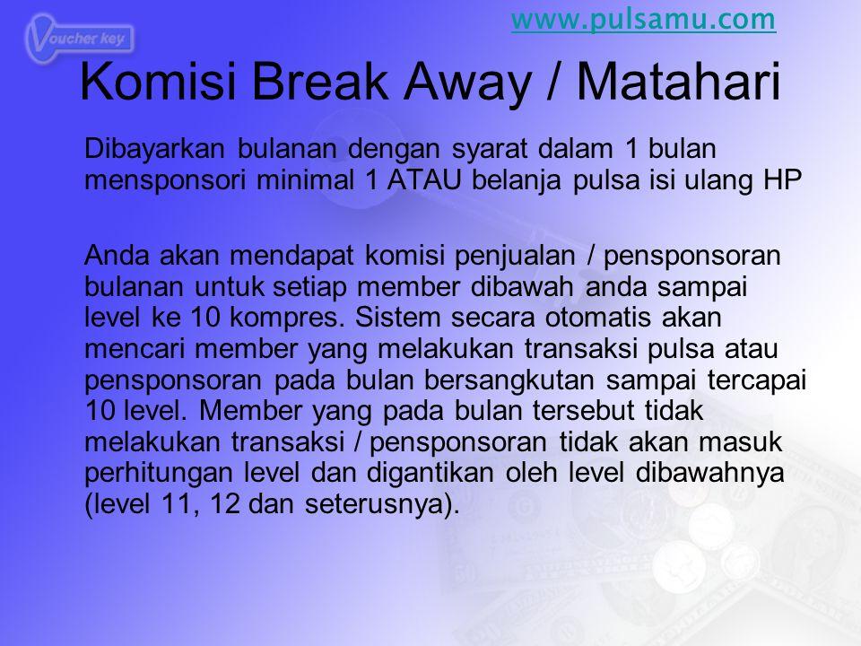 Komisi Break Away / Matahari Dibayarkan bulanan dengan syarat dalam 1 bulan mensponsori minimal 1 ATAU belanja pulsa isi ulang HP Anda akan mendapat komisi penjualan / pensponsoran bulanan untuk setiap member dibawah anda sampai level ke 10 kompres.