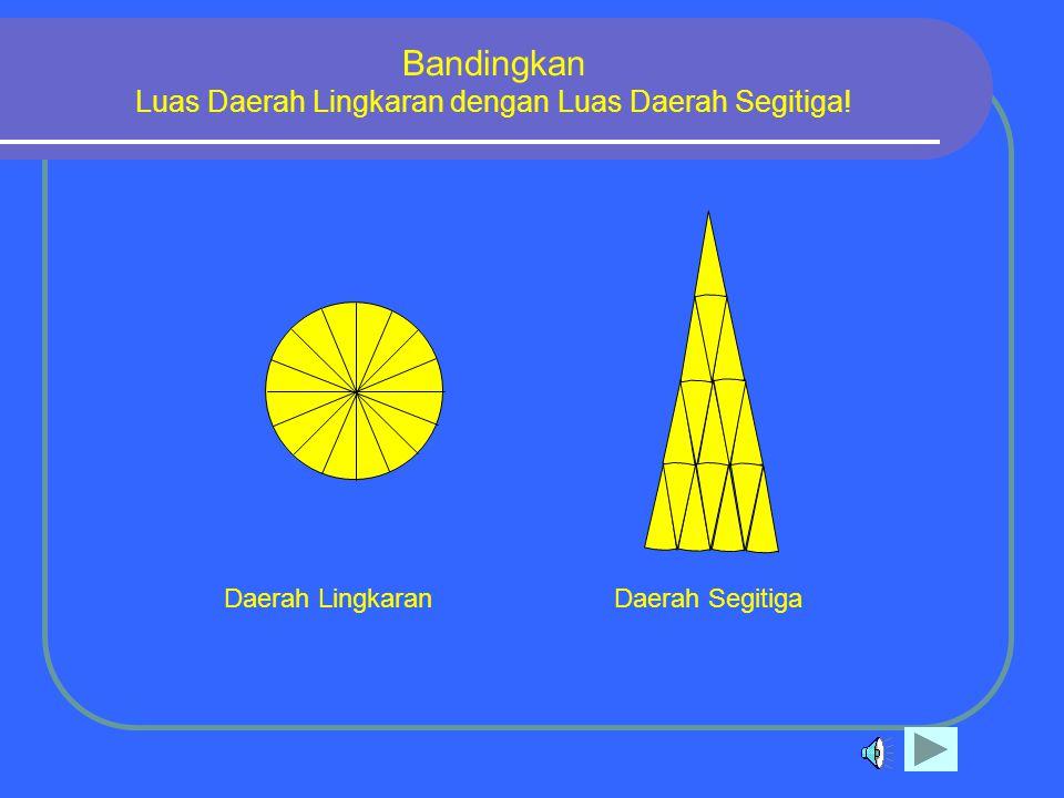 Jika juring-juring tersebut dipotong, kemudian disusun, akan berbentuk daerah segitiga seperti berikut ini Daerah LingkaranDaerah Segitiga