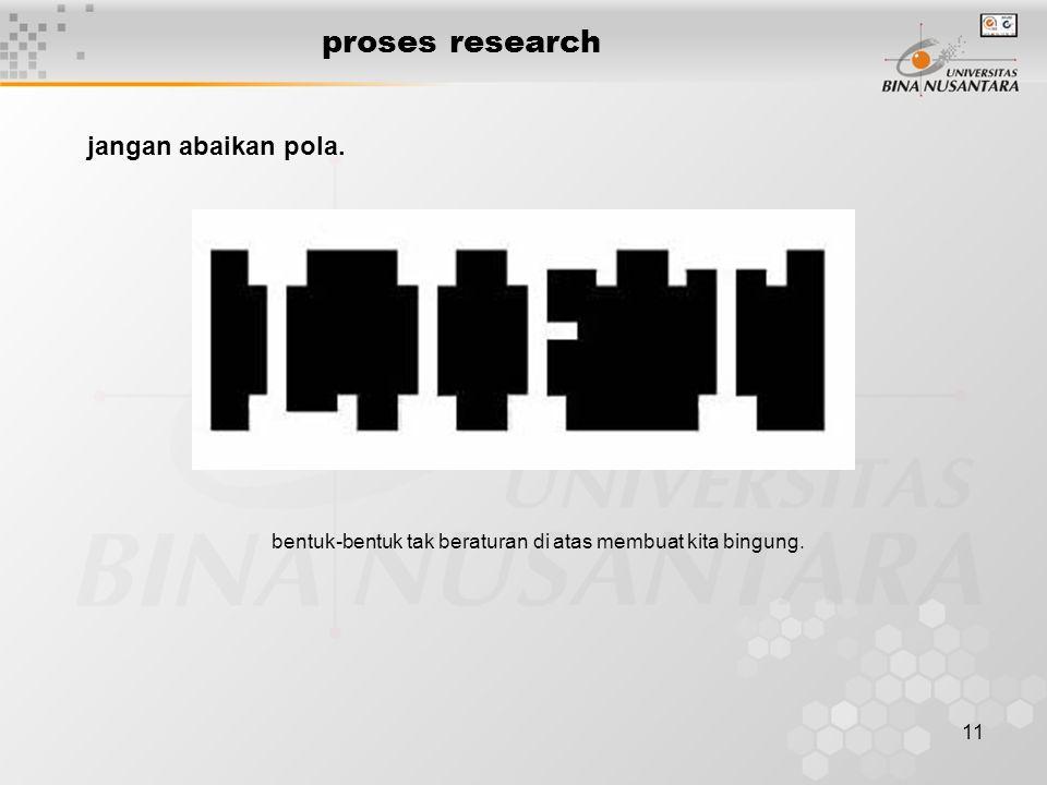 11 proses research jangan abaikan pola. bentuk-bentuk tak beraturan di atas membuat kita bingung.