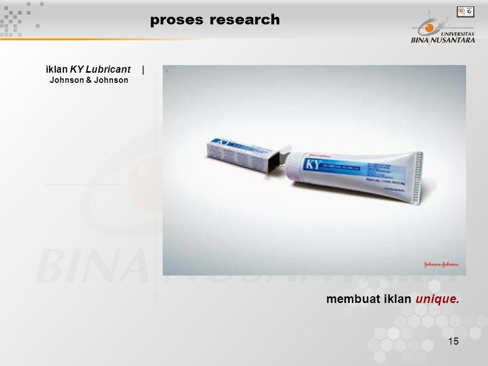 15 proses research iklan KY Lubricant   Johnson & Johnson membuat iklan unique.