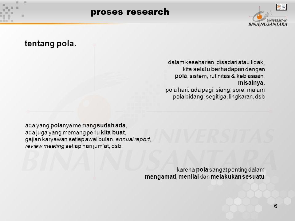 6 proses research tentang pola. dalam keseharian, disadari atau tidak, kita selalu berhadapan dengan pola, sistem, rutinitas & kebiasaan. misalnya. po