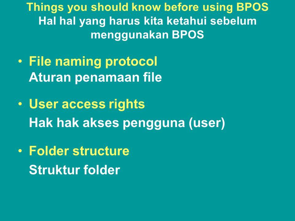 File Naming protocol / Aturan Penamaan file Step 1 Identify the project Identifikasi Proyek Project name acronym Akronim Nama Proyek Example / Contoh: AIPMNH, PRMF, SASP etc.