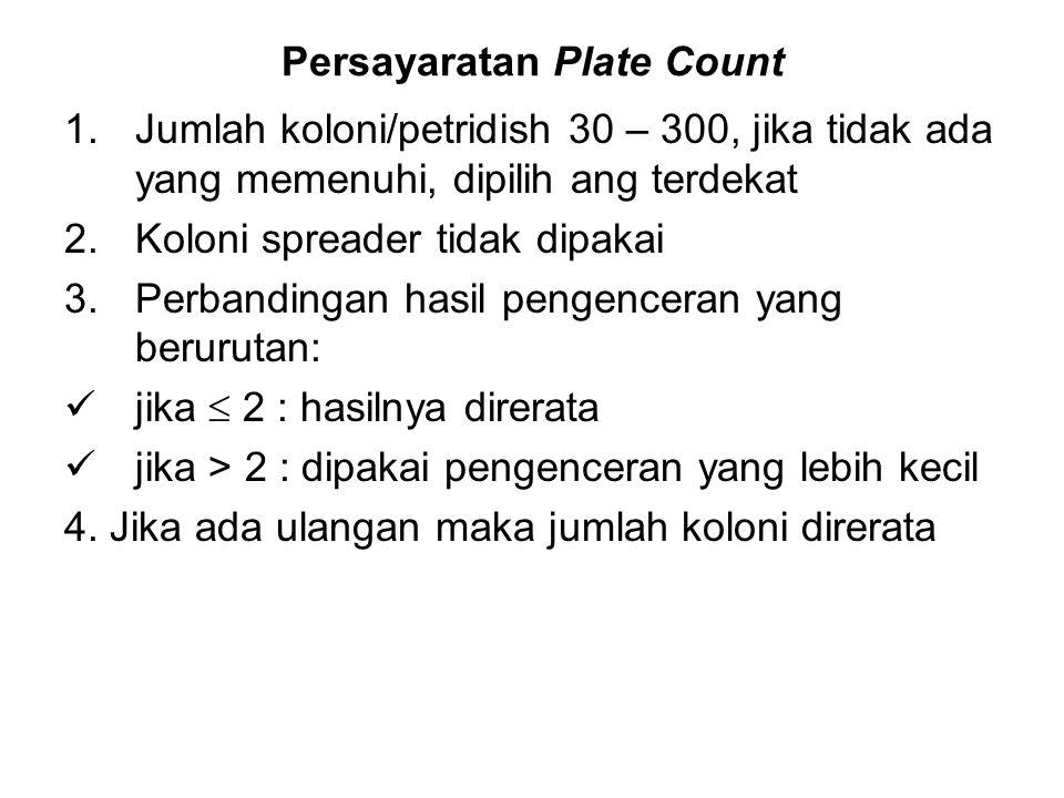 Persayaratan Plate Count 1.Jumlah koloni/petridish 30 – 300, jika tidak ada yang memenuhi, dipilih ang terdekat 2.Koloni spreader tidak dipakai 3.Perb