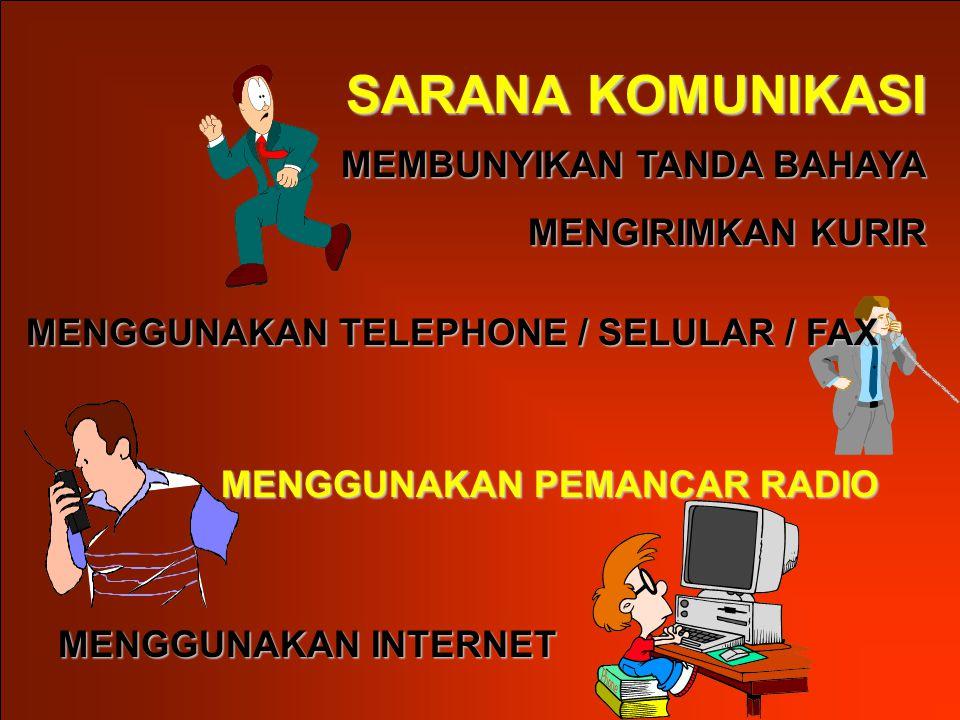 MEMBUNYIKAN TANDA BAHAYA MENGIRIMKAN KURIR SARANA KOMUNIKASI MENGGUNAKAN TELEPHONE / SELULAR / FAX MENGGUNAKAN INTERNET MENGGUNAKAN PEMANCAR RADIO
