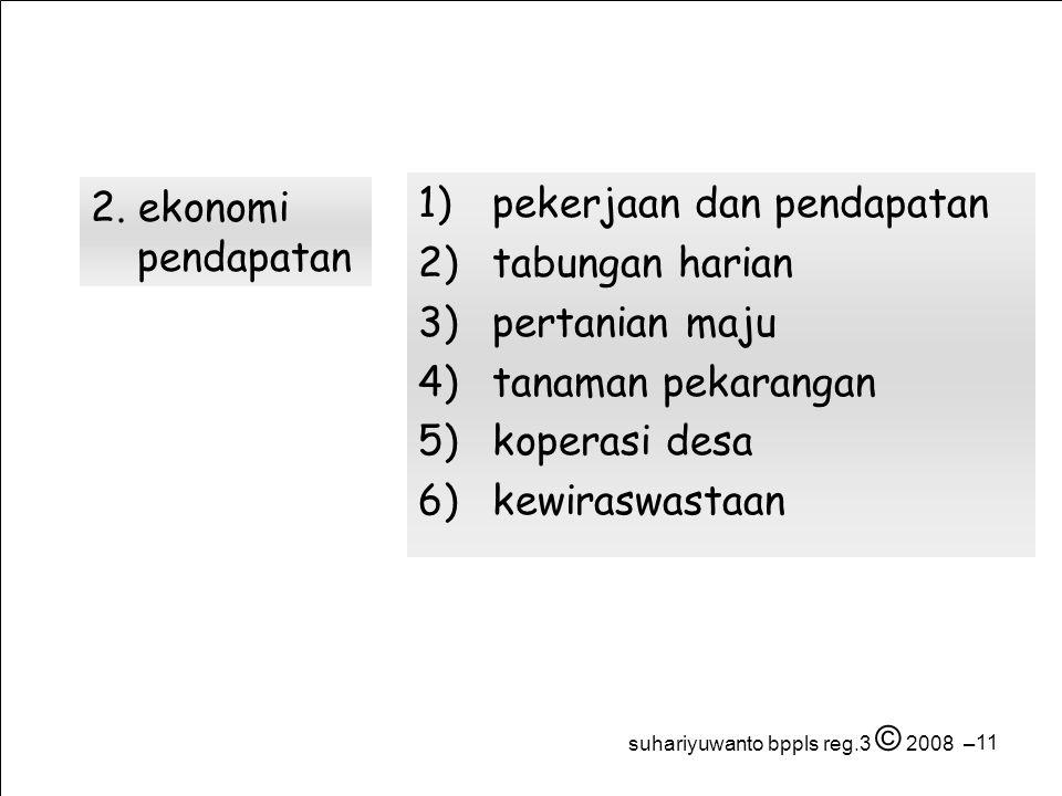 11 1) pekerjaan dan pendapatan 2) tabungan harian 3) pertanian maju 4) tanaman pekarangan 5) koperasi desa 6) kewiraswastaan 2.