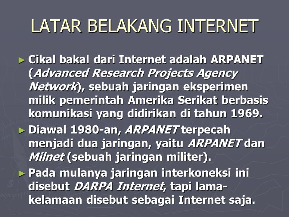 ► Di tahun 1986 lahir NSFNET (National Science Foundation Network ) menjadi backbone Internet komersial dan mulai menggantikan ARPANET sebagai jaringan riset utama di Amerika.