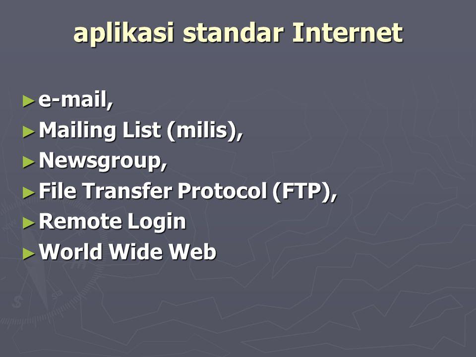EMAIL ► Dengan fasilitas ini seseorang dapat membuat dan mengirimkan pesan tertulis kepada seorang atau sekelompok orang lain yang juga terdaftar di Internet.