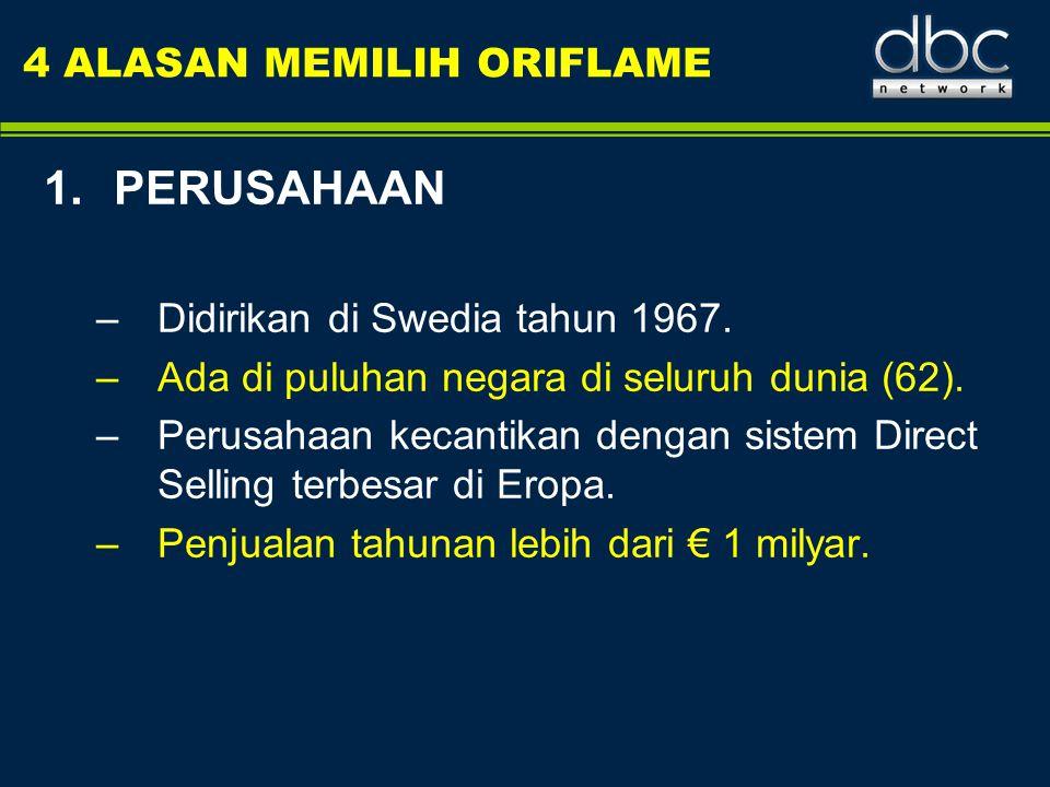 4 ALASAN MEMILIH ORIFLAME 1.PERUSAHAAN –Didirikan di Swedia tahun 1967. –Ada di puluhan negara di seluruh dunia (62). –Perusahaan kecantikan dengan si