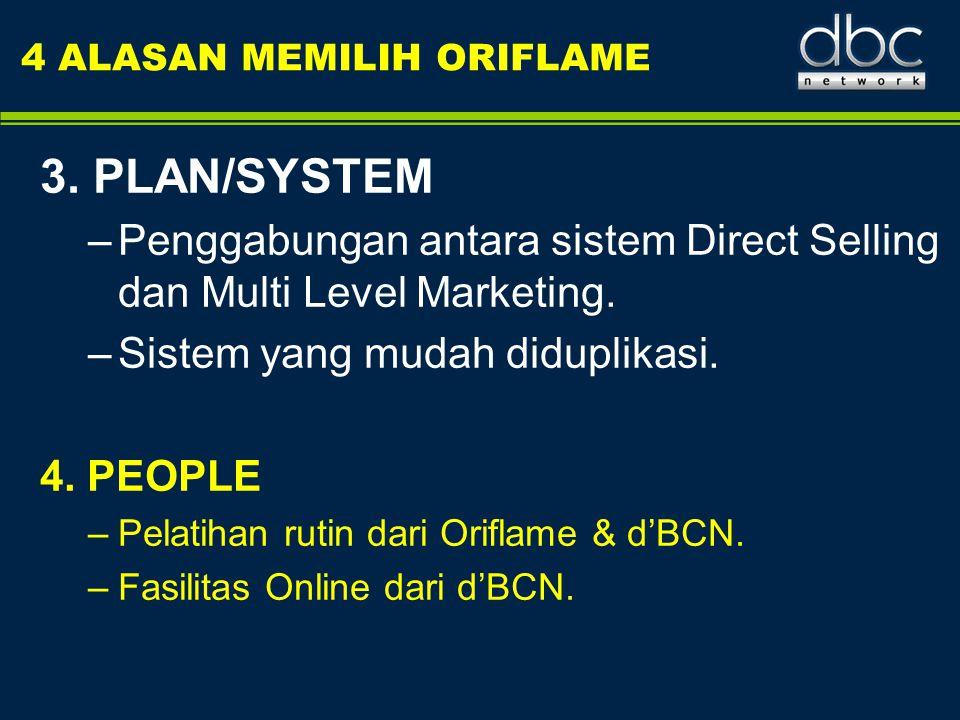 4 ALASAN MEMILIH ORIFLAME 3. PLAN/SYSTEM –Penggabungan antara sistem Direct Selling dan Multi Level Marketing. –Sistem yang mudah diduplikasi. 4. PEOP