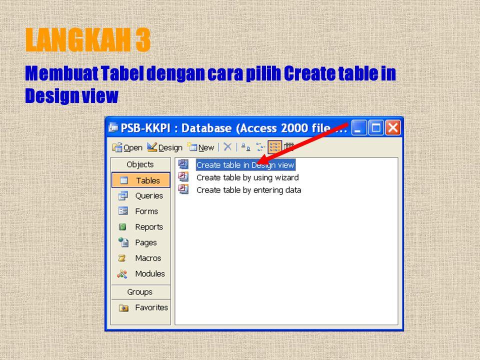 LANGKAH 2 Create nama file database