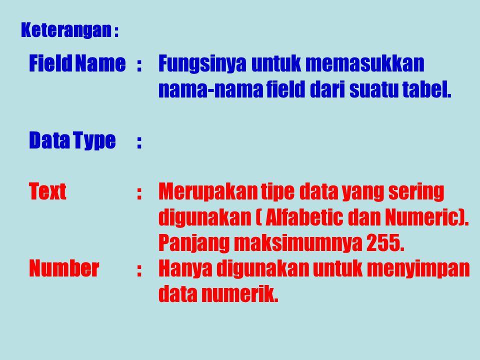 Selanjutnya tampilan lembar kerja Microsoft Acces akan menampilkan gambar berikut : Setelah tampil isikan Field Name dan Data Type dari tabel yang aka