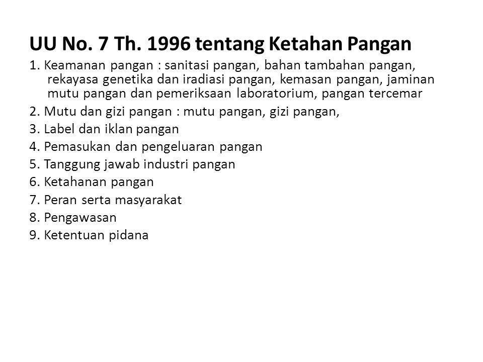 UU No.7 Th. 1996 tentang Ketahan Pangan 1.