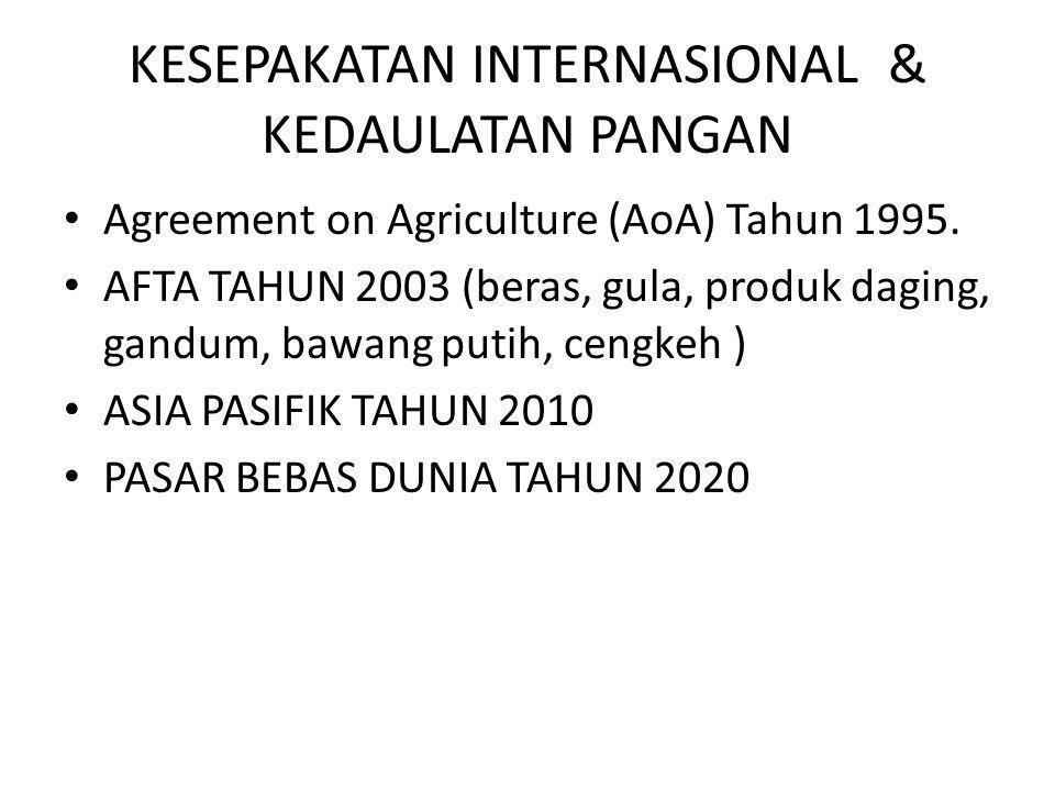 KESEPAKATAN INTERNASIONAL & KEDAULATAN PANGAN • Agreement on Agriculture (AoA) Tahun 1995.