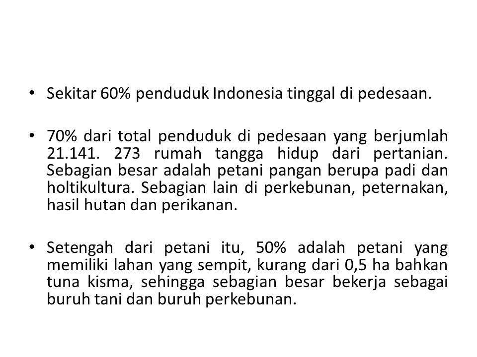 • Sekitar 60% penduduk Indonesia tinggal di pedesaan.