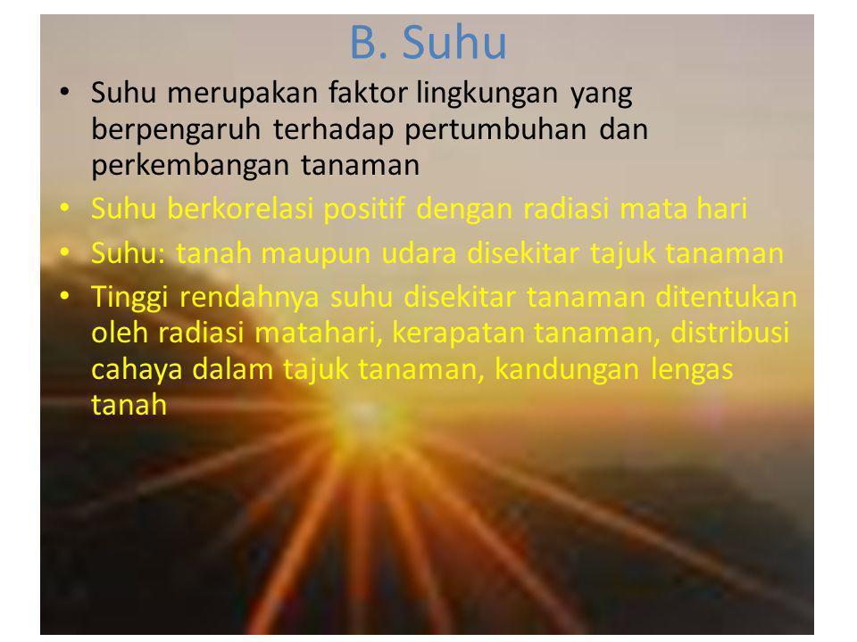 B. Suhu • Suhu merupakan faktor lingkungan yang berpengaruh terhadap pertumbuhan dan perkembangan tanaman • Suhu berkorelasi positif dengan radiasi ma