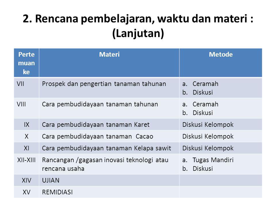 2. Rencana pembelajaran, waktu dan materi : (Lanjutan) Perte muan ke MateriMetode VIIProspek dan pengertian tanaman tahunana.Ceramah b.Diskusi VIIICar