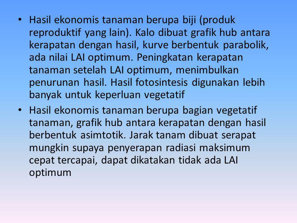 • Hasil ekonomis tanaman berupa biji (produk reproduktif yang lain).