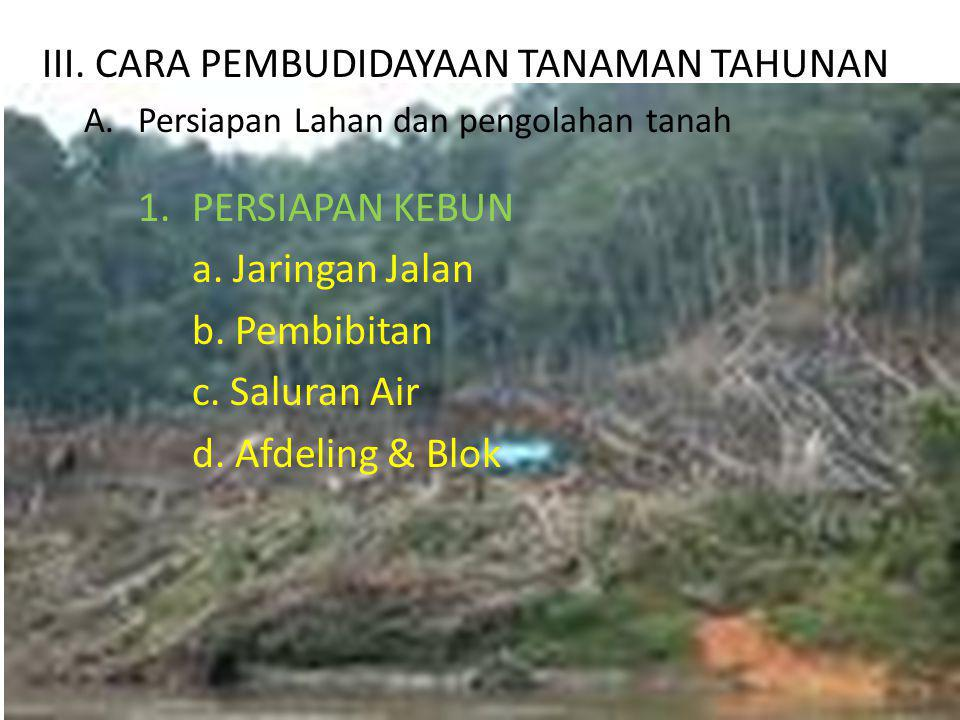 III.CARA PEMBUDIDAYAAN TANAMAN TAHUNAN A.Persiapan Lahan dan pengolahan tanah 1.PERSIAPAN KEBUN a.