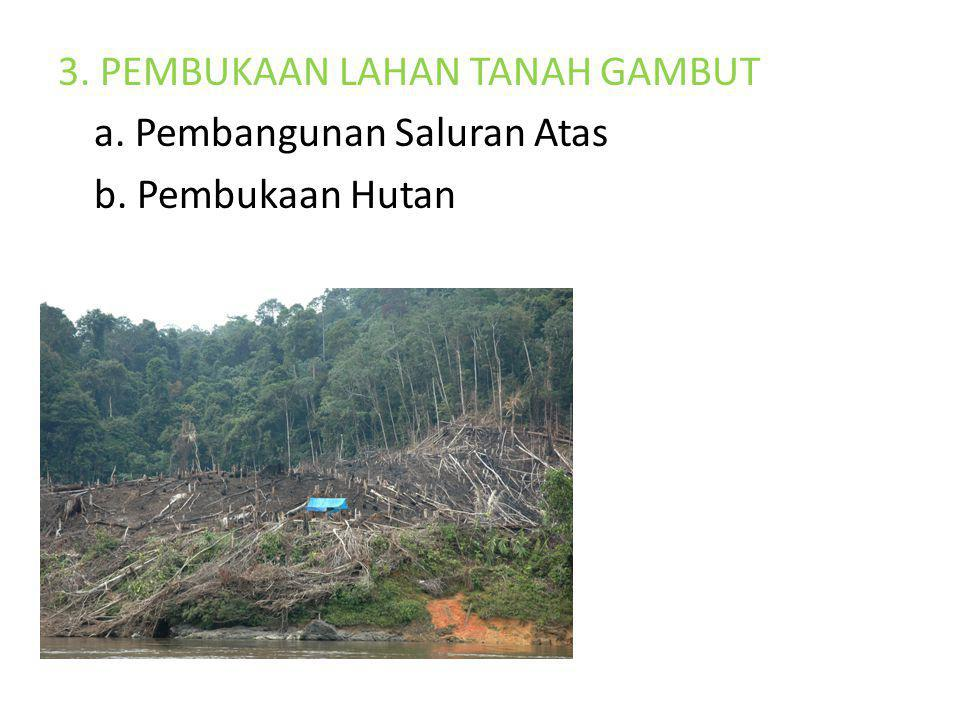 3. PEMBUKAAN LAHAN TANAH GAMBUT a. Pembangunan Saluran Atas b. Pembukaan Hutan