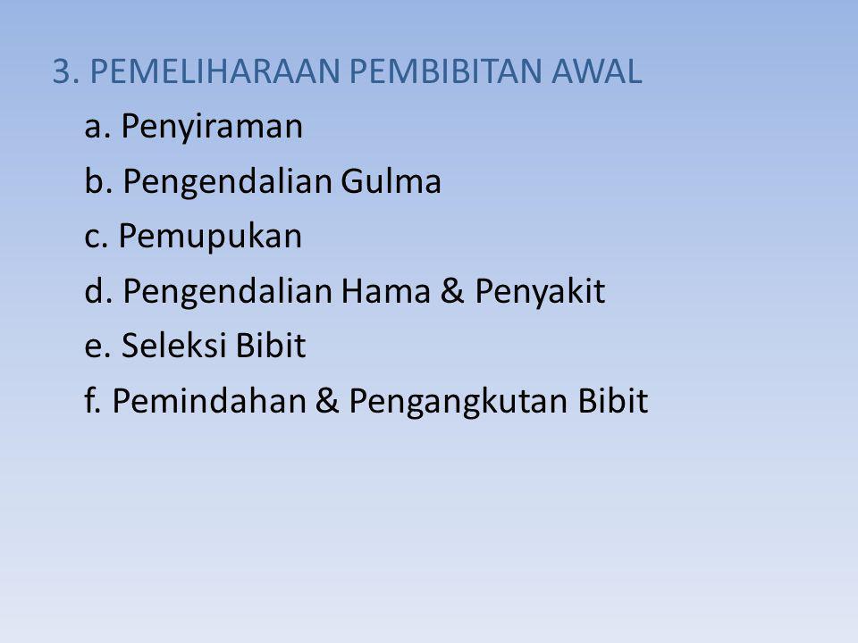 3.PEMELIHARAAN PEMBIBITAN AWAL a. Penyiraman b. Pengendalian Gulma c.
