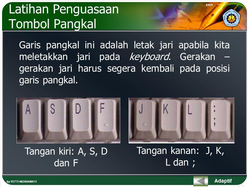 Adaptif Latihan Penguasaan Tombol Pangkal Garis pangkal ini adalah letak jari apabila kita meletakkan jari pada keyboard.
