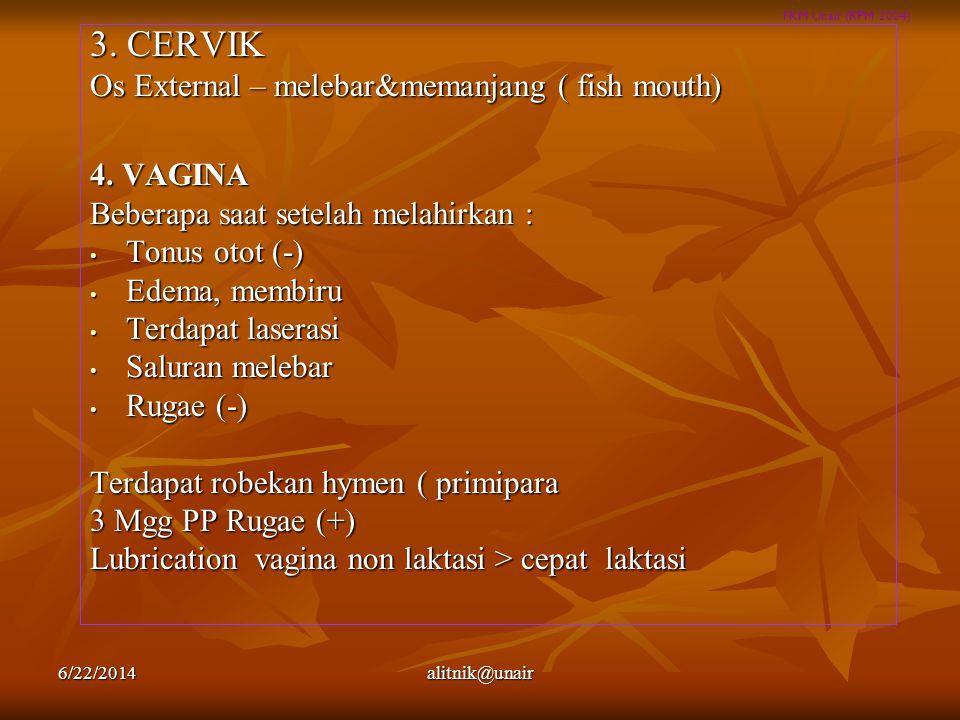 FKM Unair (RPM 2004) 3. CERVIK Os External – melebar&memanjang ( fish mouth) 4. VAGINA Beberapa saat setelah melahirkan : • Tonus otot (-) • Edema, me